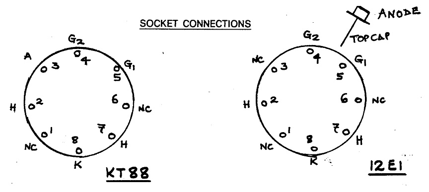 Illustration showing KT88 and 12E1 socket connections